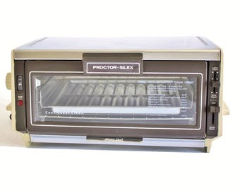 Proctor Silex Toaster Oven 0221AL Made in USA Small Appliance Vintage 1980s Kitchen