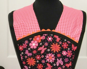 Womens Apron-Pop of Color and Butterflies-Vintage-Style Apron