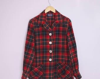 Vintage 1950's Pendleton Red Plaid Wool 49'er Jacket M/L