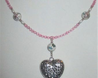 Victorian Heart necklace with Cloisonne beads - One of a Kind, OOAK