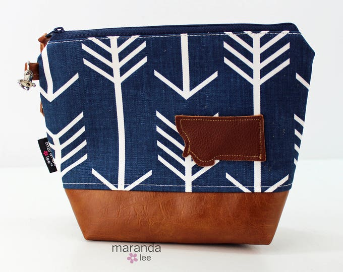 AVA Clutch Medium - Blue Arrows with Montana Patch with PU Leather READY to SHIp