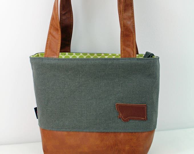 Lulu Medium Tote Gray Linen with Montana Patch and PU Leather READY to SHIP