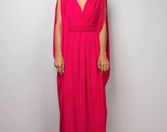 Pink dress, maxi dress, empire dress, long pink dress, sleeveless dress, tube dress, hot pink dress : Funky Elegant Collection no 40