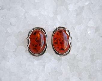 Vintage Natural Amber Pierced Earrings - Wrapped Silver Leaves Setting - 1980's