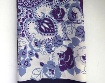 Vintage Womens Scarf by Robininson Golluber - Purple Lavender White Roses - Graphic Design Scarf - Womens Fashion Accessories  Gift Idea