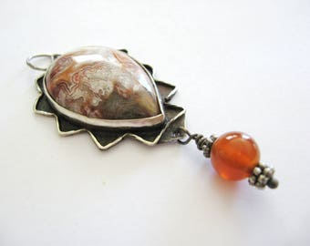 Crazy Lace Agate Pendant, Agate Pendant, Crazy Lace Agate Necklace, Natural Gemstone Jewelry,Lace Agate Jewelry, Sterling Silver Jewelry,