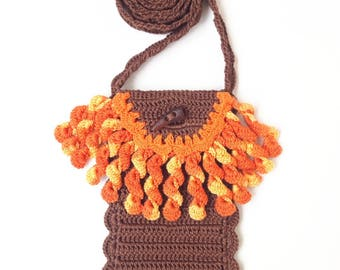 Brown phone purse with orange fringe Smartphone crossbody bag Boho chic Cell phone pouch Crochet case Gift for her