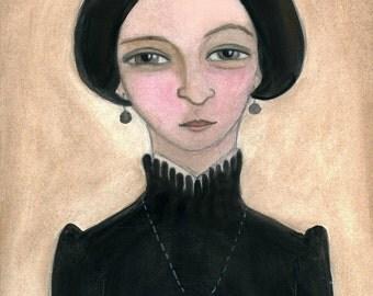 Victorian Portrait, Goth Art, Widow Illustration, Momento Mori (6x8) Macabre Painting, Victorian Home Decor, M. Abigale