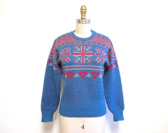 Vintage 1940s Sweater | Red and Blue 1940s Jantzen Ski Sweater | size small - medium