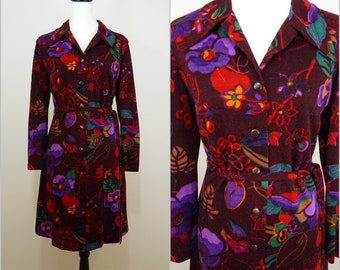 VINTAGE 1960s Bohemian Plum Purple Pop Flower Dagger Collar Dress UK 14 Fr 42 Psychedelic/Mod/ GoGo / Abstract