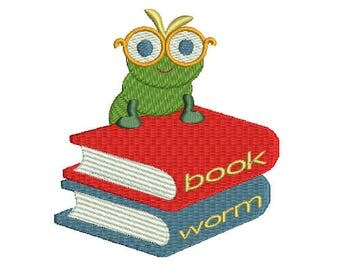 Book worm machine embroidery design Instant Download