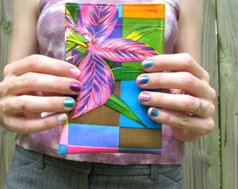 """Mini tropical leaves print oilcloth pouch, for makeup, coinpurse, wallet, jewelry case. 6.25"""" by 4""""."""