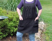 """Jet Black Linen Pinafore Apron """"no tie apron"""" 100% Organic Flax Washed Linen Smock - comfortable all day apron, made-to-order XS - Plus Size"""