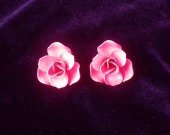 Pink Rose Earrings Vintage 1940 Enamel Clip Backs