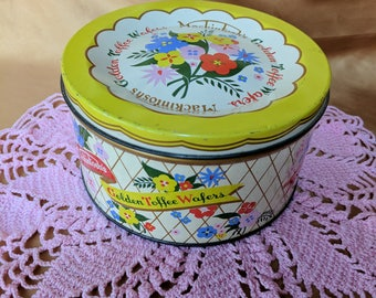 Mackintosh's Golden Toffee Wafers Vintage Tin Container England Necco Floral *eb