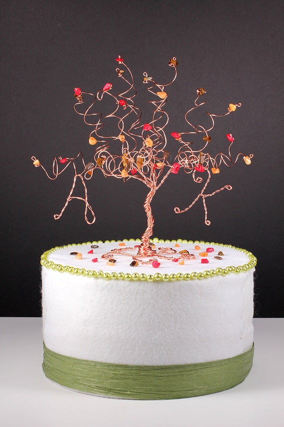 autumn wedding cake toppers fall wedding cake topper wire tree sculpture in autumn colors 10909