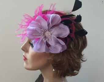 Whimsical hot pink and purple fascinator for costume or wedding guest