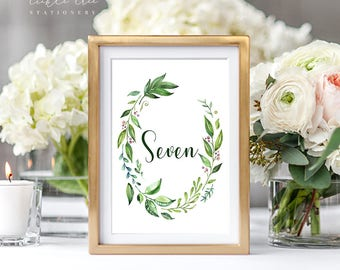 PRE-PRINTED SALE - Reception Table Numbers 1 Through 7 - Breezy Leaf (Style 13701)