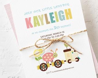 Birthday Party Invitations - Ladybug Train (Style 13170)