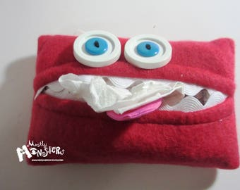 Kleenex Kreature; Tissue Holder; Pocket Tissue; Travel hankie;  back to school; purse pal; tissue cover; red tissue monster