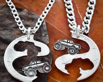 Best Friend Truck Necklaces, Mudding Tires, Mud Bogging, 4X4, Monster Trucks, Couples Jewelry, 4 wheelers, Big Tires, Cut Coin