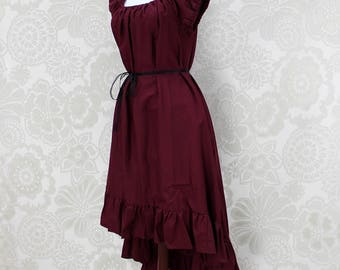"""Steampunk Cap Sleeved Ragamuffin Dress in Burgundy Cotton -- Size S, Fits Bust 33""""-36"""" -- Ready to Ship"""