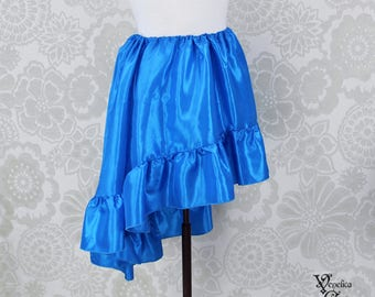 """Steampunk High Low Mini Cecilia Skirt -- Cerulean Taffeta -- Ready to Ship -- Best Fits Up To 45"""" Waist"""