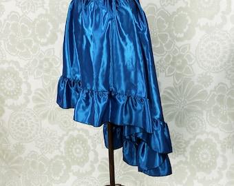"Steampunk High Low Cecilia Skirt, Longer Length -- Petroleum Blue Taffeta -- Ready to Ship -- Best Fits Up To 48"" Waist"