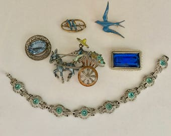 Vintage Jewelry Lot STERLING Marcasites Enamel Brooches BRACELET Rhinestone Some TLC Repair Blue