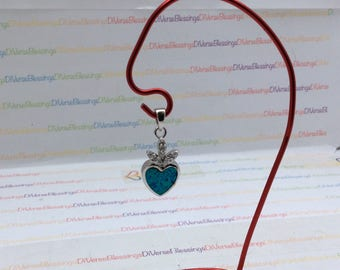 Embellished Heart, Faux Opal, Component Element, October Birthstone, Silver Tone, Charm Pendant, Slightly reactive