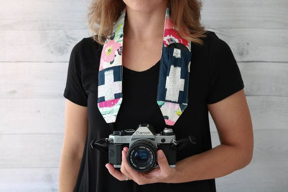 Floral DSLR Strap with Pockets | Pink and Aqua Padded Camera Strap with Navy Lens Cap Pockets