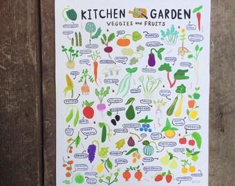 "Kitchen Garden - Art Print - 8x10"", 11""x14"", 18""x24"" - Wall Art - vegetables, fruit, farm, food, gift, home decor, country"