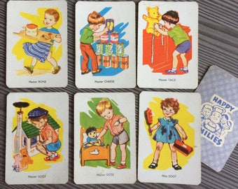 Set of 6 vintage Playing Cards Happy Families People Kids Game Swap Girls