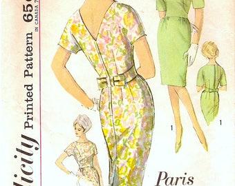 Super Vintage 1960s Simplicity 4908 Paris Fashion Cocktail Worthy Slim Sheath Dress Sewing Pattern B34