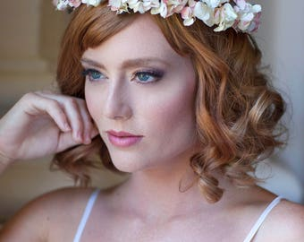 Blush Pink Ivory Flower Crown with Real Dried Hydrangea & Lavender Halo Hair Wreath Wedding / Bride / Engagement Photo Shoot