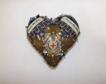 Antique WW1 Military World War Sweetheart Forget me not beaded pin cushion blue Militaria heart shaped The Loyal North Lancashire Regiment