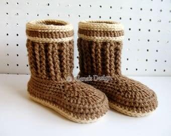 Crochet Pattern 197 for Luke Toddler Booties Crochet Boot Pattern Brown Boots Crochet Patterns Slippers Pattern Boys Winter Boots Christmas