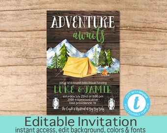 Adventure Couples shower invitation, Adventure Awaits, Baby Shower Invitation, Camping, Outdoors, Invitation, EDITABLE, Instant Download