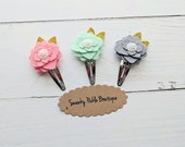 Felt Flower Clips,Felt Hair Bows,Snap Clips for Baby Toddlers Girls,Pink Mint Gray,Clips for Fine Hair,Hair Barrette,Toddler Hair Clips