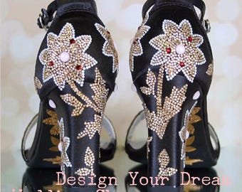 CUSTOM CONSULTATION:  Black Wedding Shoes. Vintage Wedding Shoes, Custom Designed Shoes, Design Your Own Wedding Shoes, Crystal Wedding Shoe