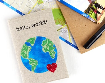 Hello, World! Passport Holder Gifts for Travellers Linen Passport Cover Travel Accessory Gifts for Her