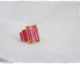 Pink Knuckle Ring, Shield Brass Ring, Shield Knuckle Ring, Midi Brass Ring, Shield Midi Ring, Polymer Clay Ring, Cut Out Geometric Ring