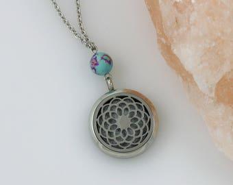 Mandala Essential Oil Necklace - Aromatherapy Necklace - Diffuser Necklace - Stainless Diffuser - Mandala Necklace - Gemstone Necklace