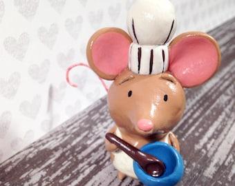 Baker Mouse Figurine - One of a Kind Art Sculpture