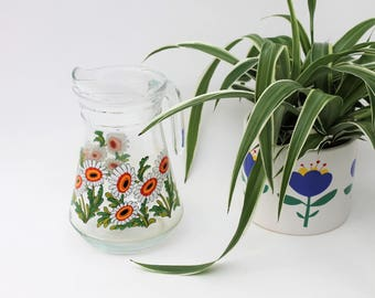 Flower Design French Glass Water Jug