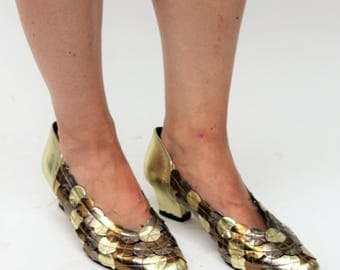 Metallic Gold, Bronze and Pewter Mid-Heel Shoes Size UK 5.5, US 8, EU 38.5