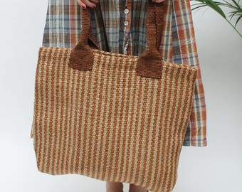Jute Striped Shoulder Bag