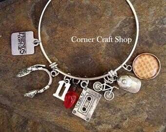 FRIENDS DON'T LIE Stranger Things inspired  Charm Bangle Bracelet Headset Christmas bulb Hat Bike Eleven Waffle Cassette Tape