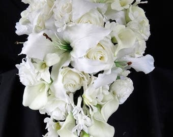 Ivory cascading bouquet with REAL TOUCH calla and REAL touch and silk roses, velvety orchids, rhinestones stephanotis, artificial, bride