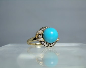 Art Deco Persian Turquoise Diamond 14k Gold Ring Beautiful Setting 11 mm completely round Turquoise Cabochon DanPickedMinerals